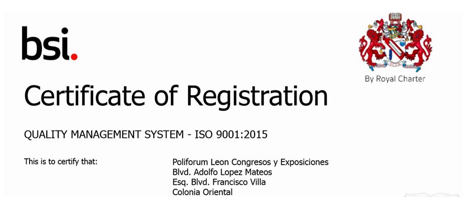 CERTIFICA ISO 9001 A POLIFORUM LEÓN